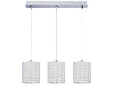 ET2 Elements Satin Nickel & White Weave Three-Light 24.5'' Long Xenon Island Light