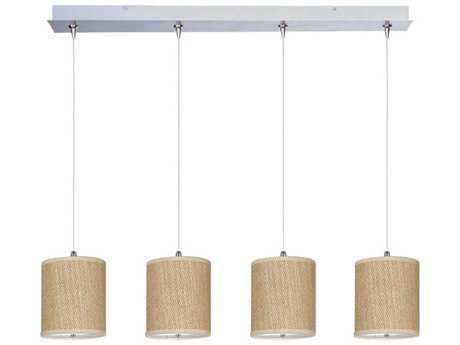 ET2 Elements Satin Nickel & Grass Cloth Four-Light 34.5'' Long Xenon Island Light