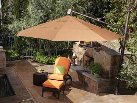Treasure Garden Cantilever Aluminum 11' Foot Wide Crank Lift Tilt & Lock Umbrella