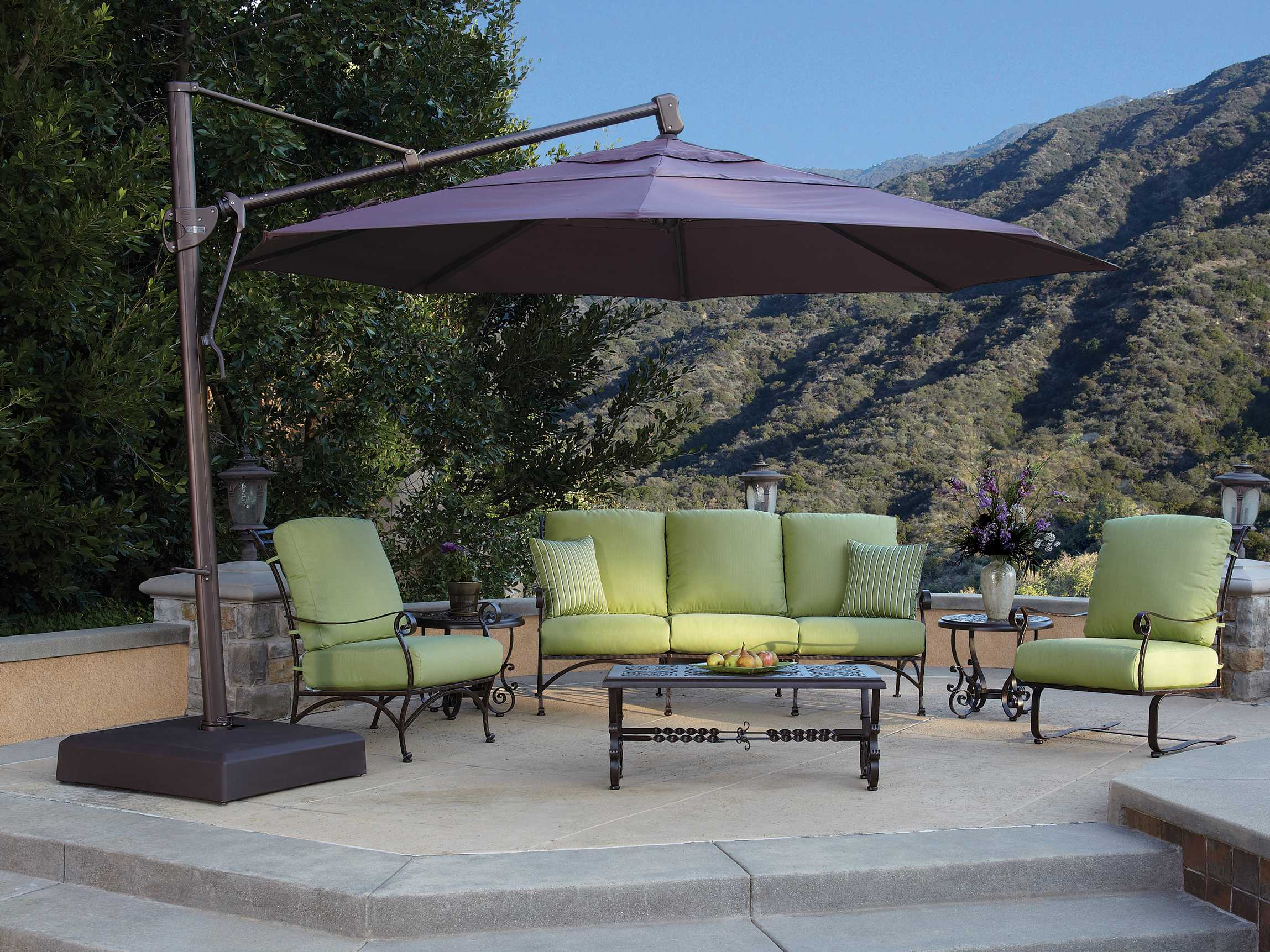 cantilever offset direct patio aluminum solid and umbrella base foot with pin hanging wicker beige crank brown
