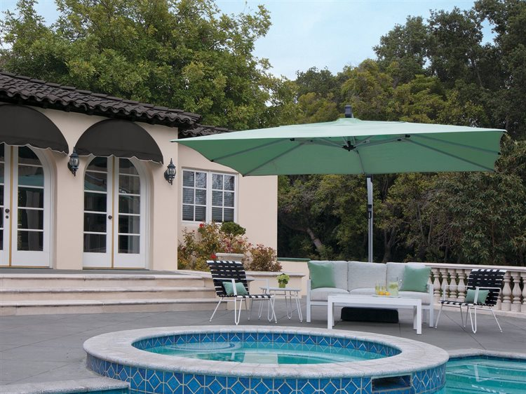 Large patio umbrella covering chairs