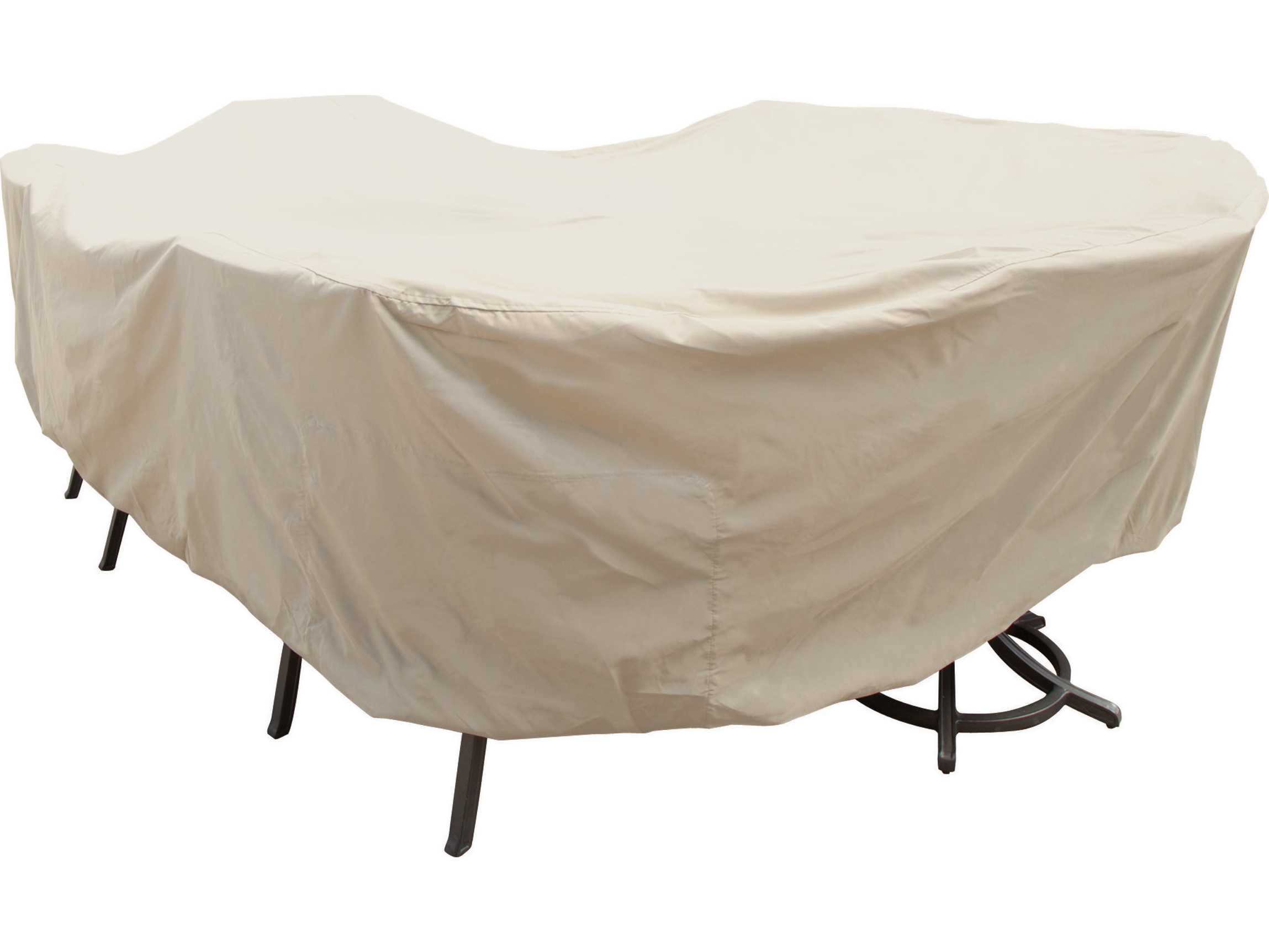 Treasure garden x large oval rectangle table chairs cover cp699 for Treasure garden patio furniture covers