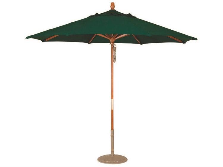Treasure Garden Quick Ship Market Wood 9' Octagon Pully Lift Umbrella PatioLiving