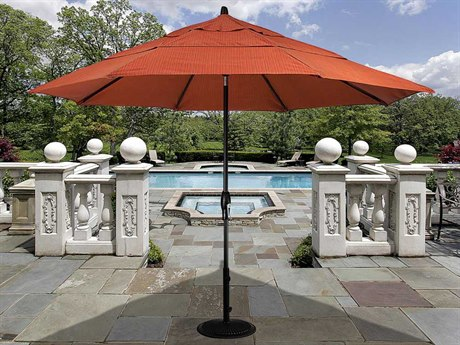 Treasure Garden Market Aluminum 11' Octagon Auto Tilt Crank Lift Umbrella PatioLiving