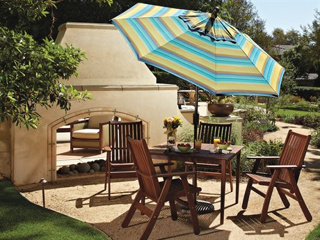 Treasure Garden Market Aluminum 7.5' Octagon Push Button Tilt Crank Lift Umbrella PatioLiving