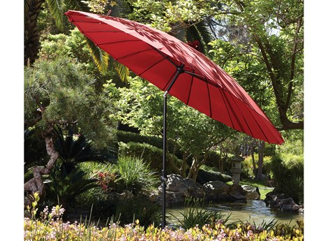 Treasure Garden 10' Shanghai Aluminum Round Collar Tilt Crank Lift Umbrella