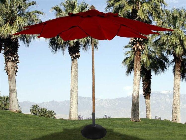 Fiberbuilt Palm Fiberteak 11 Leaf Pulley Wood Umbrella