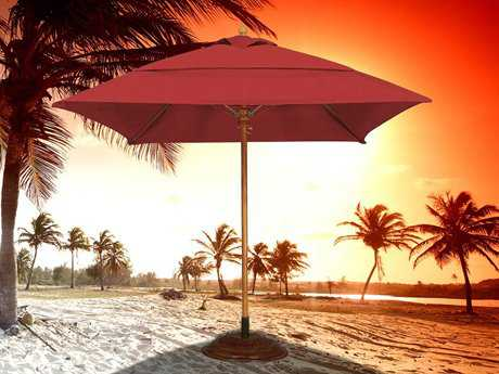 Fiberbuilt Bridgewater FiberTeak 7.5' Square Pulley Wood Umbrella