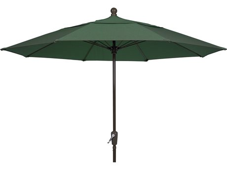 Fiberbuilt Umbrellas Terrace Quick Ship 9 Foot Wide Crank Lift Push Button Tilt Umbrella