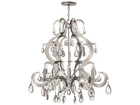 Fredrick Ramond Xanadu Polished Stainless Steel Nine-Light 41 Wide Grand Chandelier