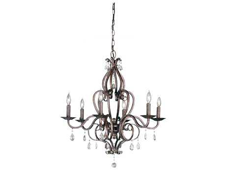 Feiss Mademoiselle Peruvian Bronze 28'' Wide Six-Light Chandelier