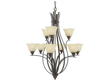 Feiss Morningside Grecian Bronze 34'' Wide Nine-Light Chandelier