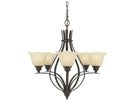 Feiss Morningside Grecian Bronze 25.5'' Wide Five-Light Chandelier