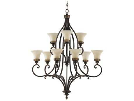 Feiss Drawing Room Walnut 37.25'' Wide Nine-Light Chandelier