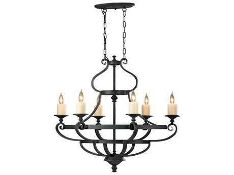 Feiss King's Table Antique Forged Iron 18.75'' Wide Six-Light Chandelier