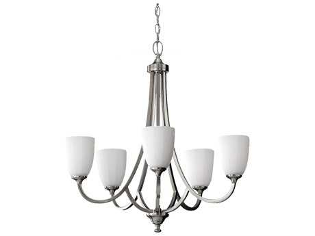 Feiss Perry Brushed Steel 26'' Wide Five-Light Chandelier