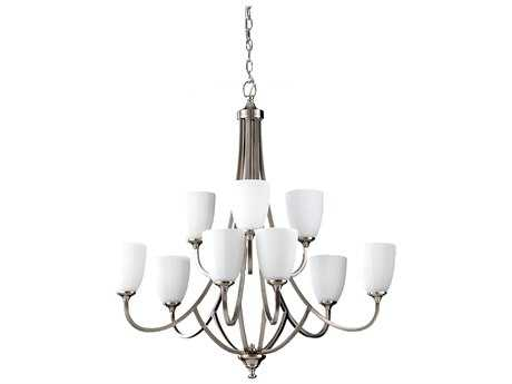 Feiss Perry Brushed Steel 32'' Wide Nine-Light Chandelier