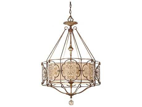 Feiss Marcella British Bronze & Oxidized Bronze Three-Light Pendant Light