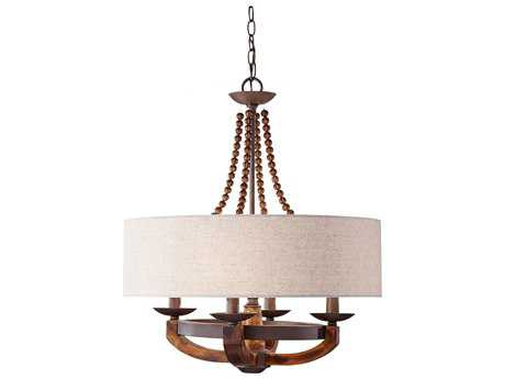 Feiss Adan Rustic Iron & Burnished Wood 22'' Wide Four-Light Mini Chandelier
