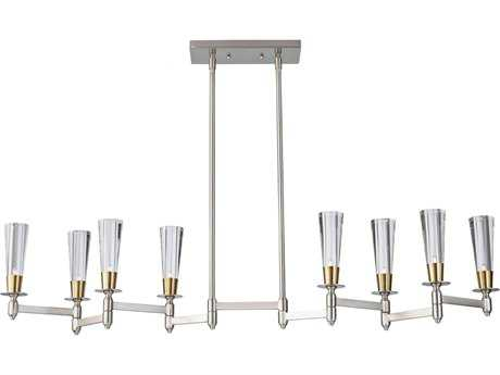 Feiss Celebration Brushed Nickel & Natural Brass Eight-Light Island Light