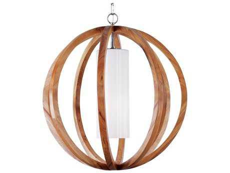Feiss Allier Light Wood & Brushed Steel Pendant Light