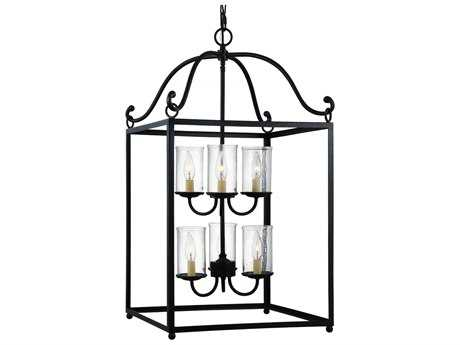 Feiss Declaration Antique Forged Iron 18'' Wide Six-Light Chandelier
