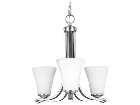 Feiss Summerdale Satin Nickel 23'' Wide Three-Light Mini-Chandelier