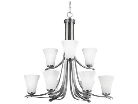 Feiss Summerdale Satin Nickel 33'' Wide Nine-Light Chandelier