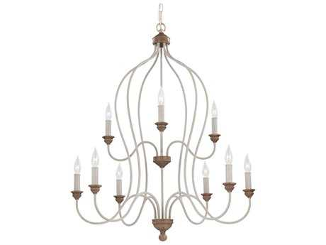 Feiss Hartsville Chalk Washed & Beachwood 30.75'' Wide Nine-Light Chandelier