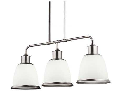 Feiss Hobson Satin Nickel Three-Light Island Light