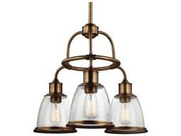 Feiss Hobson Aged Brass 21.5'' Wide Three-Light Mini-Chandelier
