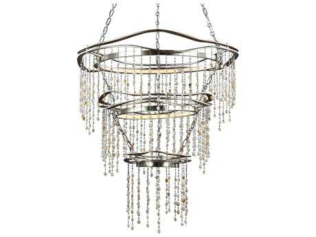 Feiss Stonesend Silver Leaf Antique 29.5'' Wide Two-Light Grand Chandelier