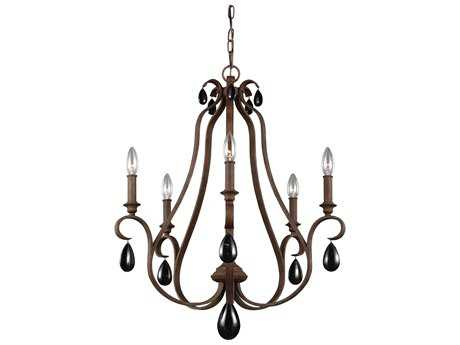 Feiss DeWitt Weathered Iron Five-Light 25'' Wide Chandelier