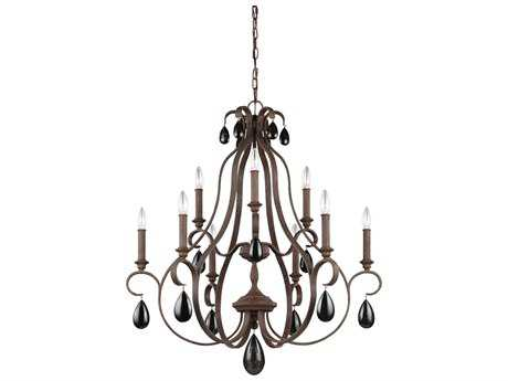 Feiss DeWitt Weathered Iron Nine-Light 30.5'' Wide Chandelier