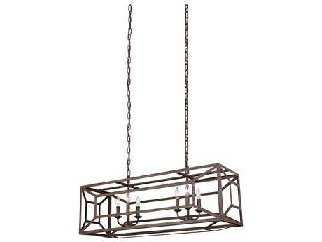 Feiss Marquelle Weathered Iron Six-Light 14.5'' Wide Island Light