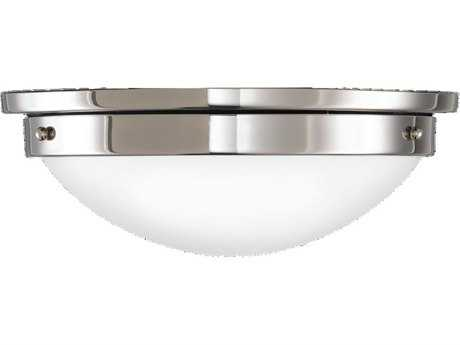 Feiss Gravity Polished Nickel Two-Light Flush Mount Light