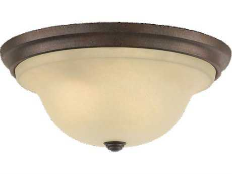 Feiss Vista Corinthian Bronze Three-Light Flush Mount Light
