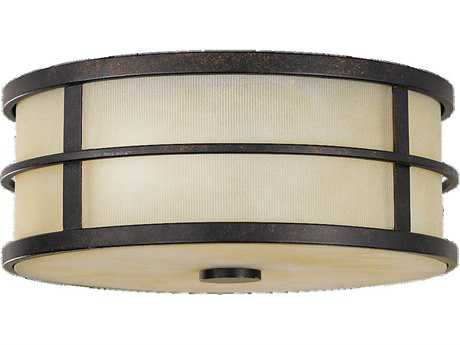 Feiss Fusion Grecian Bronze Two-Light Flush Mount Light