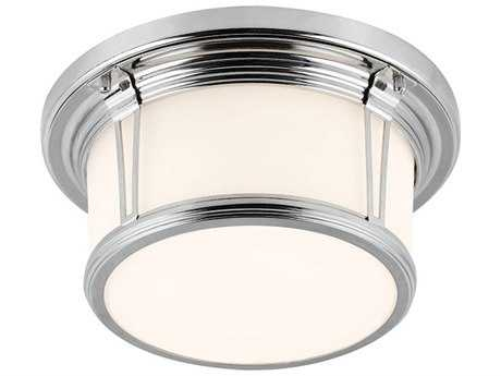 Feiss Woodward Polished Nickel Two-Light Flush Mount Light