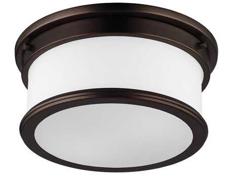 Feiss Payne Dark Plated Bronze Two-Light Flush Mount Light