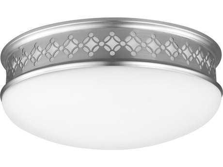 Feiss Devonshire Satin Nickel 2700K / 1120 Lumen LED Flush Mount Ceiling Light