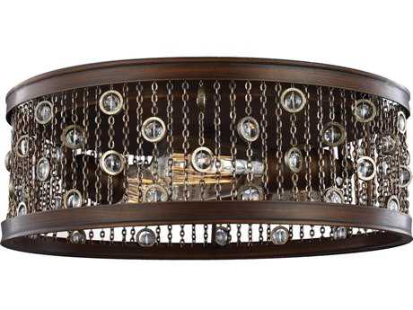 Feiss Colorado Springs Chestnut Bronze Three-Light Flush Mount Light