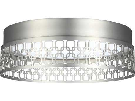 Feiss Amani Satin Nickel 13'' Wide LED Flush Mount Ceiling Light with Woven Design