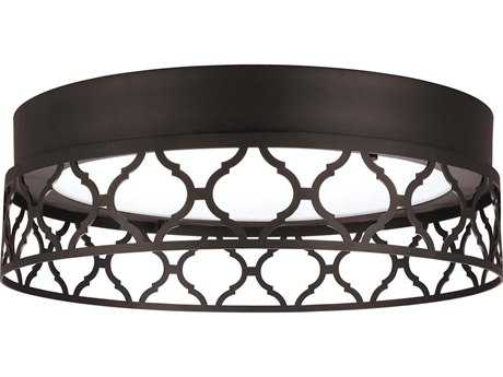 Feiss Amani Oil Rubbed Bronze 13'' Wide LED Flush Mount Ceiling Light with Arabesque Link Design