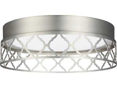 Feiss Amani Satin Nickel 13'' Wide LED Flush Mount Ceiling Light with Arabesque Link Design