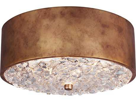 Feiss Dori Antique Burnished Brass Two-Light 13'' Wide Edison Flush Mount Celling Light