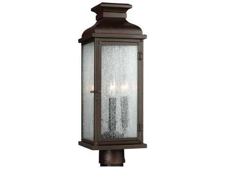 Feiss Pediment Dark Aged Copper Two-Light Outdoor Post Light