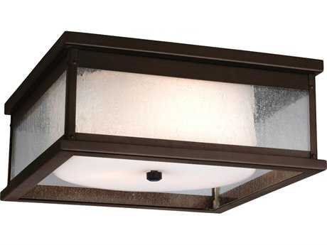 Feiss Pediment Dark Aged Copper Two-Light Outdoor Ceiling Light