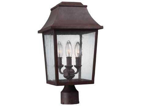 Feiss Estes Patina Copper Three-Light 9.25'' Wide Outdoor Post Light