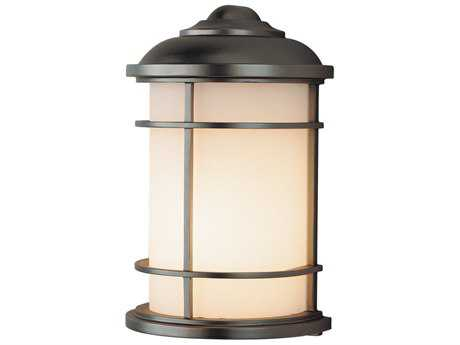 Feiss Lighthouse Burnished Bronze 7'' Wide LED Outdoor Wall Sconce with Opal Etched Glass Shade